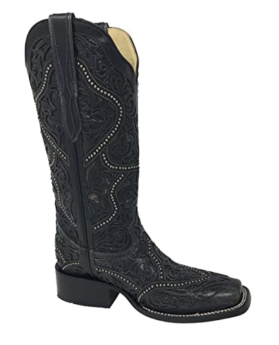 Women's Full Overlay Studs Cowgirl Boot Square Toe Black 7 M