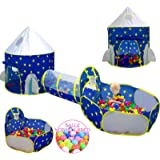 3pc Kids Play Tent for Boys with Ball Pit, Crawl Tunnel, Princess Tents for Toddlers, Baby Space World Playhouse Toys, Boys I