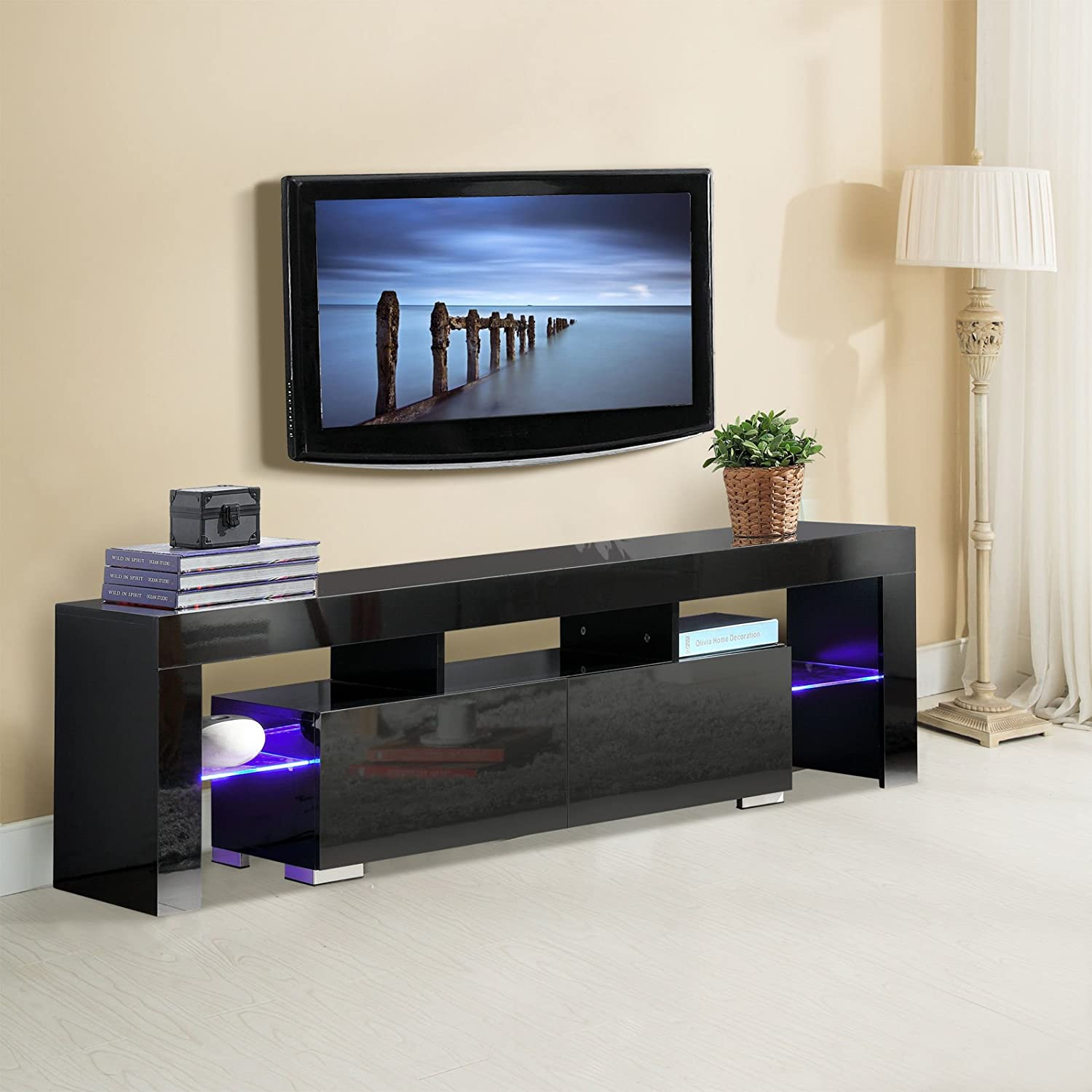 Amazoncom NEW High Gloss Black TV Stand