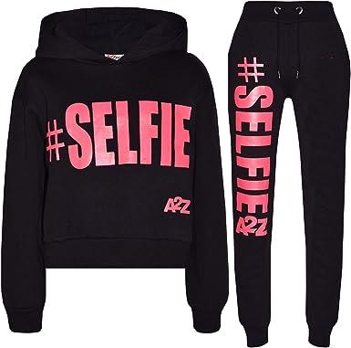 A2Z 4 Kids/® Girls Tracksuit Fleece Hooded Crop Top Bottom Jogging Suit T.S Crop #Selfie Black 9-10