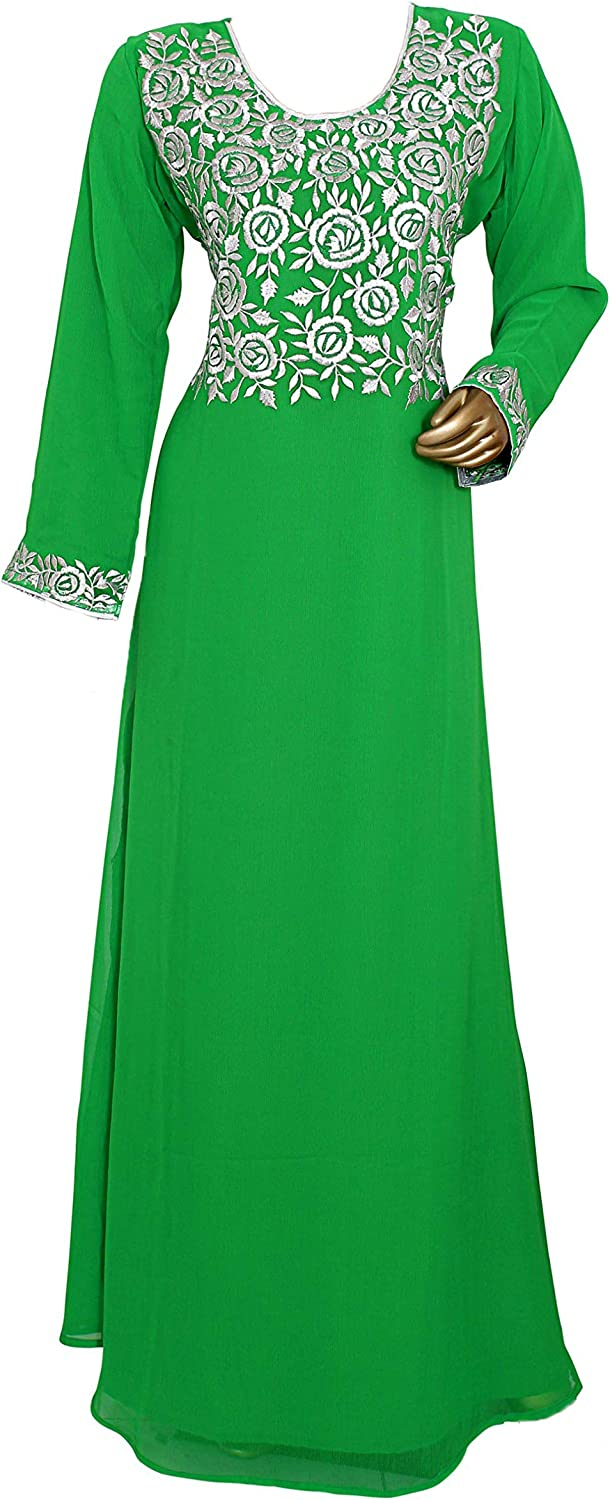 Embroidered Traditional Classic Long Sleeve Chiffon Kaftan//Gown//Maxi 10957//1//20