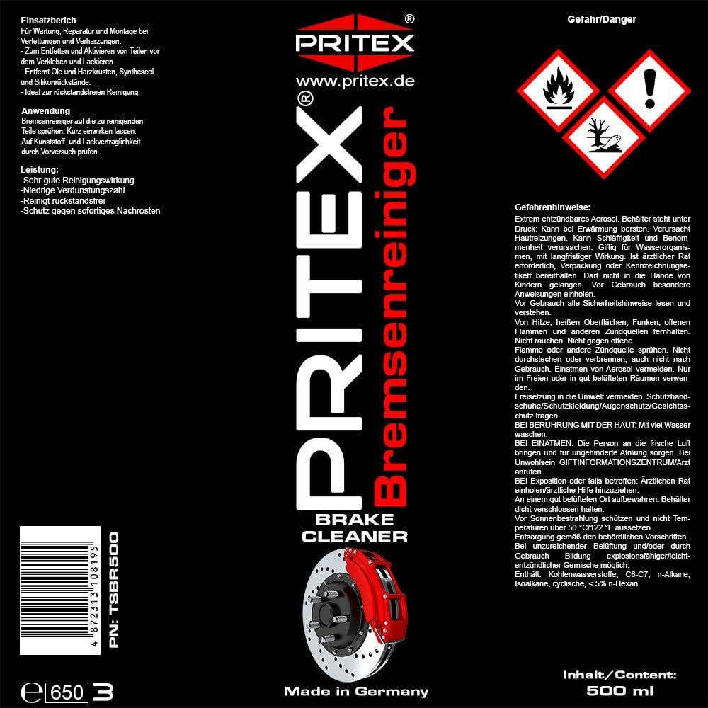 Pritex Bremsenreiniger Spray 48 X 500ml Auto Teilereiniger Reiniger Premium Qualität Auto
