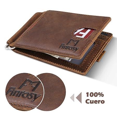 Finrosy Billetera Cartera con Pinza Tarjetero Slim Bloqueo RFID Cartera Pequeña de Viaje Estuche Clip para Dinero para Hombre: Amazon.es: Equipaje
