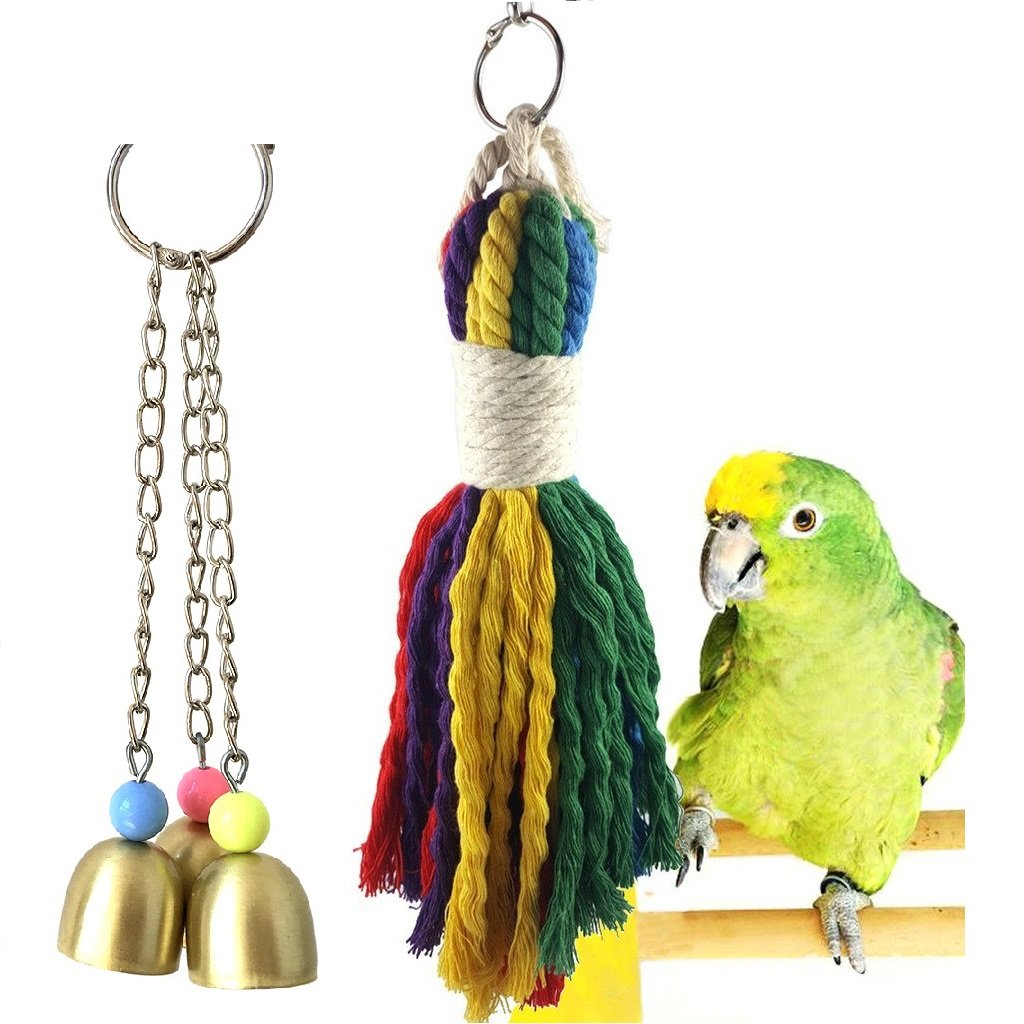 Borange Parrot Toy Colorful Rope Bell Toys Bird Cage Toy for Playing Chewing Preening Small to Medium Birds Pack of 2 (Style A)