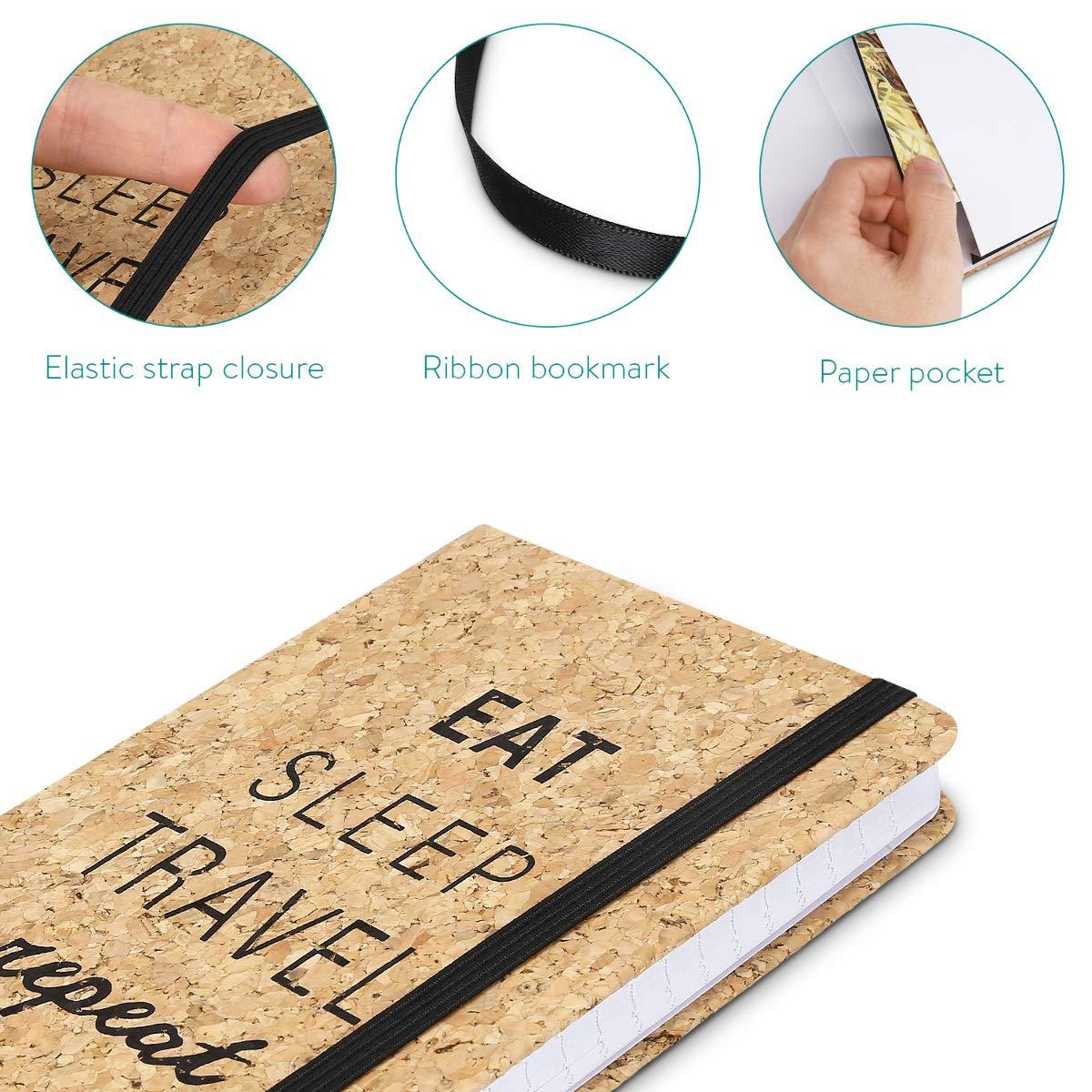 Navaris Carnet de notes Cahier 100 pages avec lignes et compartiment papier Carnet de voyage avec couverture en li/ège et fermeture /élastique