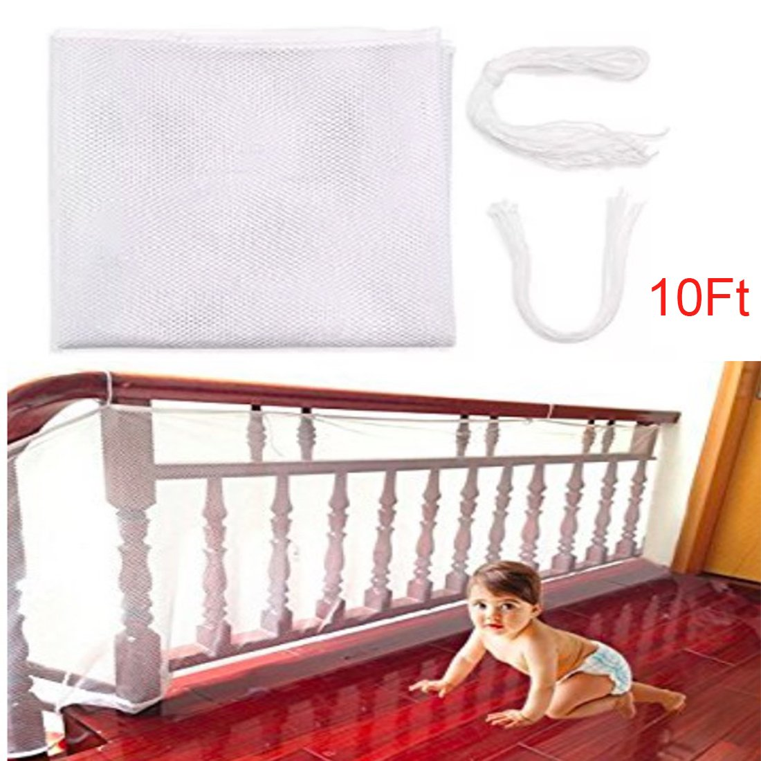 Roving Cove Child Safe Rail Net Indoor Balcony Stairway Safety Net Banister Stair Net Outdoor Usage Decks Child Safety Pet SafetyToy Safety Banister Stairs Protector (10Ft)