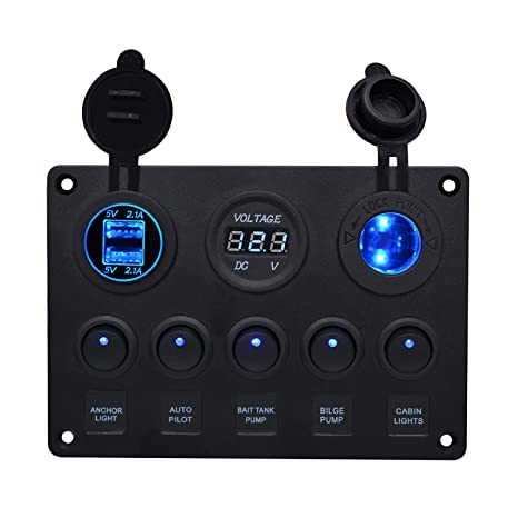 amazon wupp marine boat rocker switch panel 5 6 8 gang Installing On Boat Switch Panel wupp marine boat rocker switch panel 5 6 8 gang waterproof on off toggle switches with