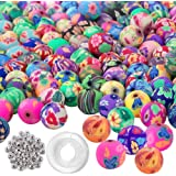 Quefe 300pcs Round Polymer Clay Beads Assorted Colorful Pattern Handmade Loose Beads with 50pcs Spacer Beads and Crystal…