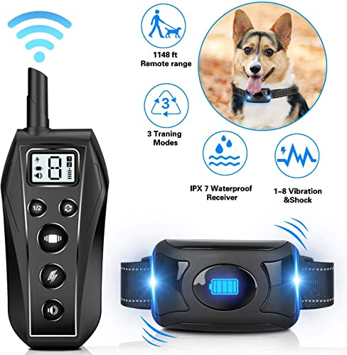 Shock Collar for Dogs Training Collar with Remote,1148 ft Remote Range, 3 Modes-Beep, Vibration 8 Levels , Stop Barking Collar for Dogs Large Medium Small ,100 IPX7 Waterproof,Adjustable Straps