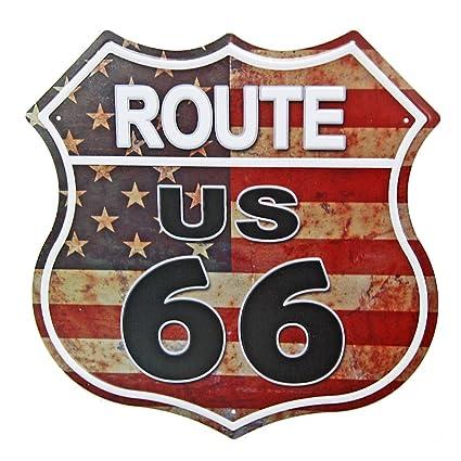Amazoncom New Deco Route Us Road 66 Polygon Metal Tin Sign Vintage