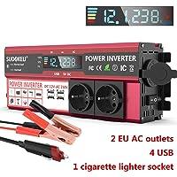 SUDOKEJI 1500W Inversor de Corriente DC 12V a AC 220V Convertidor de Automóvil con 12v Encendedor de Cigarrillos con 4 USB 2 AC Adaptador de Automóvil con Pantalla LCD