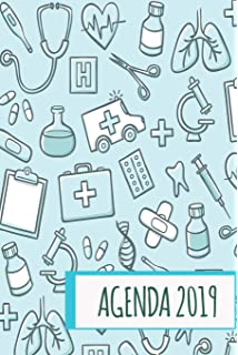 Agenda 2019: Agenda Mensual y Semanal + Organizador I Cubierta con tema de Enfermeria I