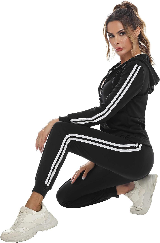 Trajes de 2 Piezas Deporta Moda de Manga Larga Ropa de sal/ón Corredores Aibrou Conjunto Ch/ándal de Mujer Sudadera con Cremallera y Pantalones