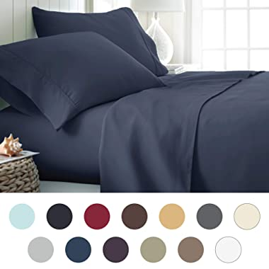 ienjoy Home Hotel Collection Luxury Soft Brushed Bed Sheet Set, Hypoallergenic, Deep Pocket, King, Navy