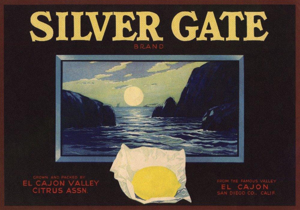 シルバーゲートブランド – EL CAJON、カリフォルニア – Citrusクレートラベル 36 x 54 Giclee Print LANT-57706-36x54 36 x 54 Giclee Print  B01MDPSY9X