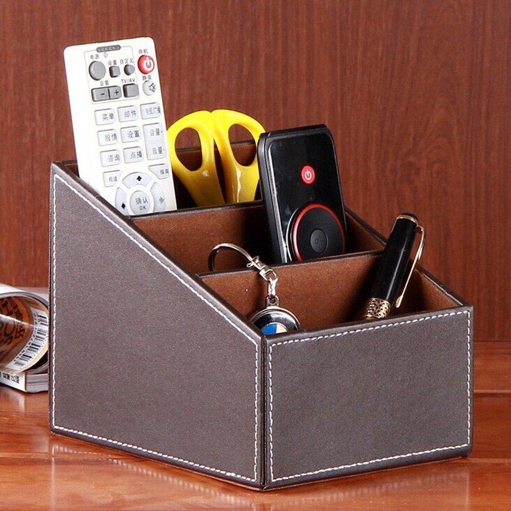 OULII Autres recettes maison stockage Box 3 Slot PU cuir télécommande titulaire organisateur de bureau (café)