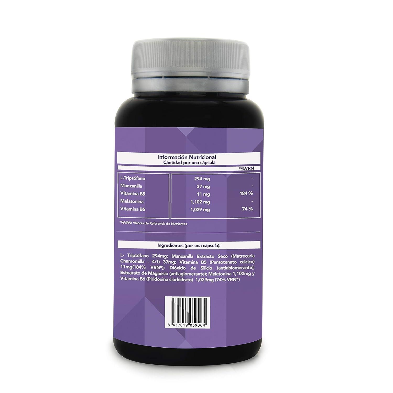 Melatonina + Triptófano + Manzanilla + Vitaminas B5 y B6 | Inductor Natural del Sueño y Potenciador del Descanso | Regulador del Ciclo del Sueño | Obtén un ...