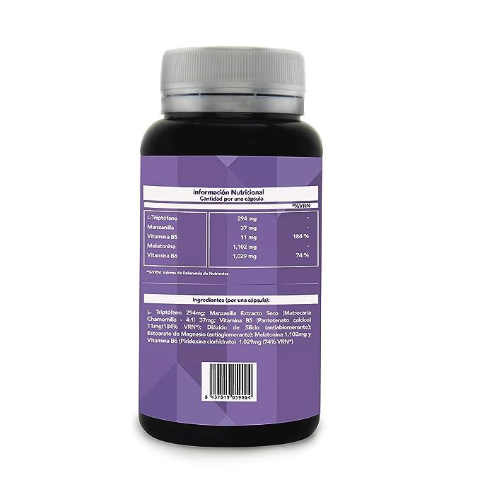 SLEEP TIME - Melatonina + Triptófano + Manzanilla + Vitamina B5 y B6 | Inductor Natural del Sueño | Di Adiós al Insomnio y Consigue un Descanso ...