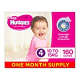 Huggies Ultra Dry Nappies, Girls, Size 4 (10-15kg) 160 Count, One-Month Supply