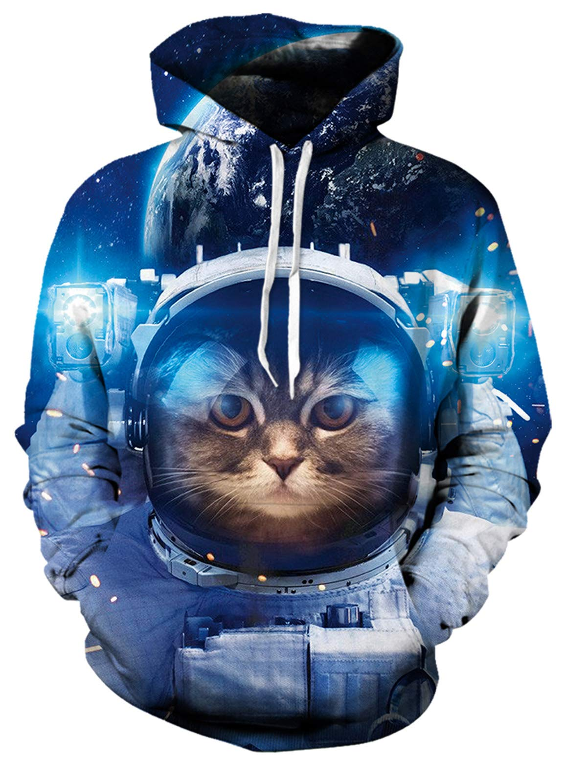 Mens Astronaut Cat Graphic Hoodies Funny 3D Printed Sportwear Ugly Christmas Sweater Pullover, Astronaut Cat, XX-Large