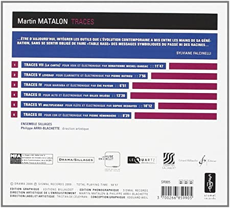 - Matalon : Traces. Ensemble Sillages. - Amazon.com Music