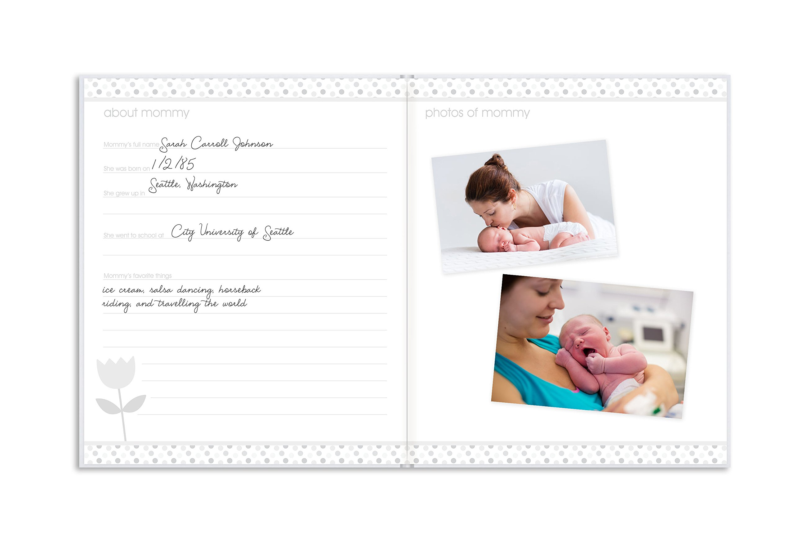 Pearhead First 5 Years Baby Memory Book with Sonogram Photo Insert, Black and Gold Polka Dot by Pearhead (Image #4)