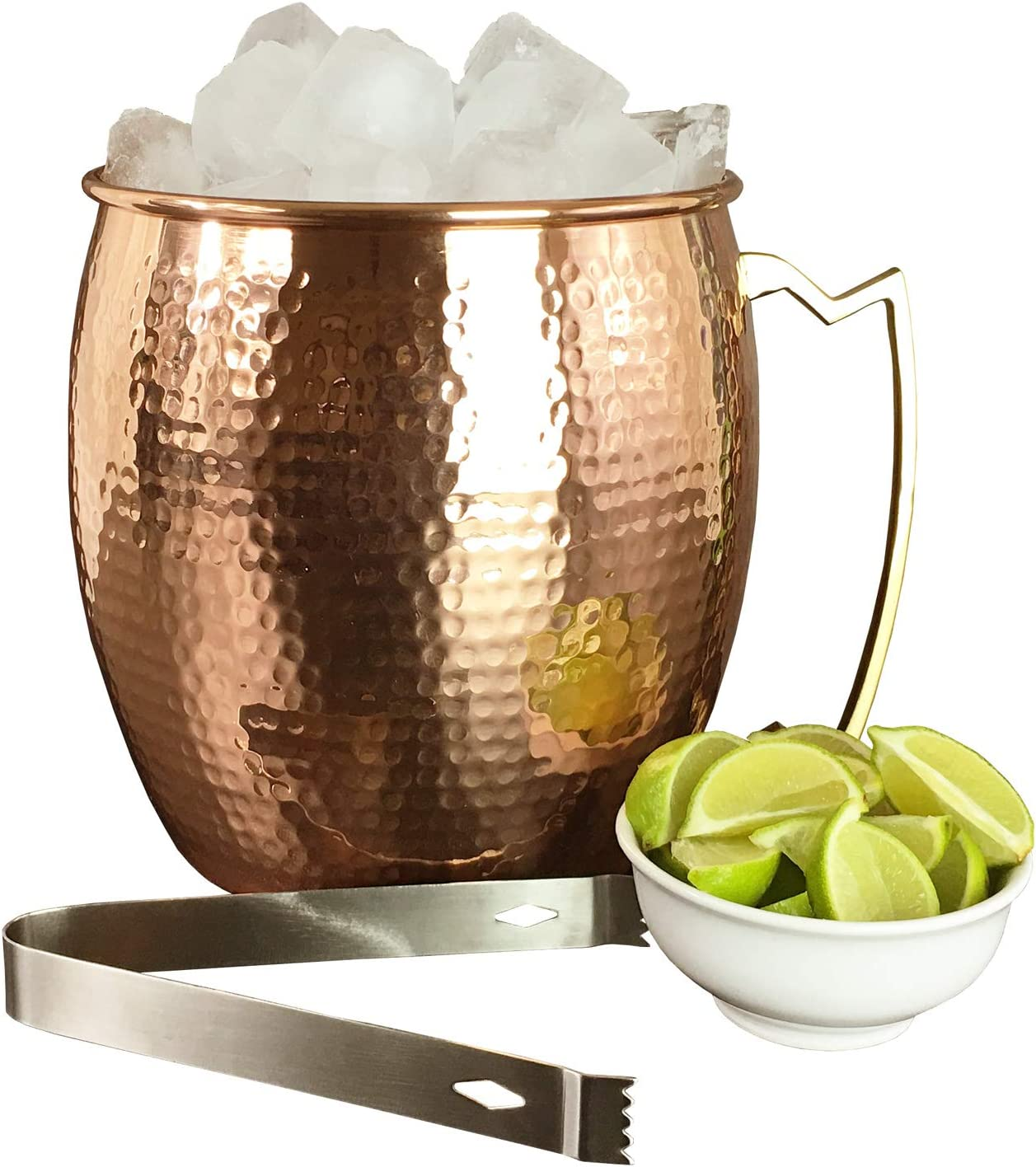 Pure Hammered Copper Ice Bucket with Tongs - 1.3 Gallon Champagne and Wine Bucket Cooler - 5 Quart Ice Buckets for Parties by Lifestyle Banquet