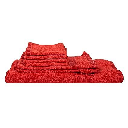 Eurospa Set of 7 Cotton Bath + Hand + Face Towel Set Red (SPDHFCB140MNS7)