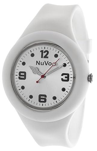 meilleur choix Garantie de satisfaction à 100% super promotions NuVo - NU13H14 - Montre Mixte détachable du bracelet - Cadran Blanc -  Bracelet Silicone Blanc changeable