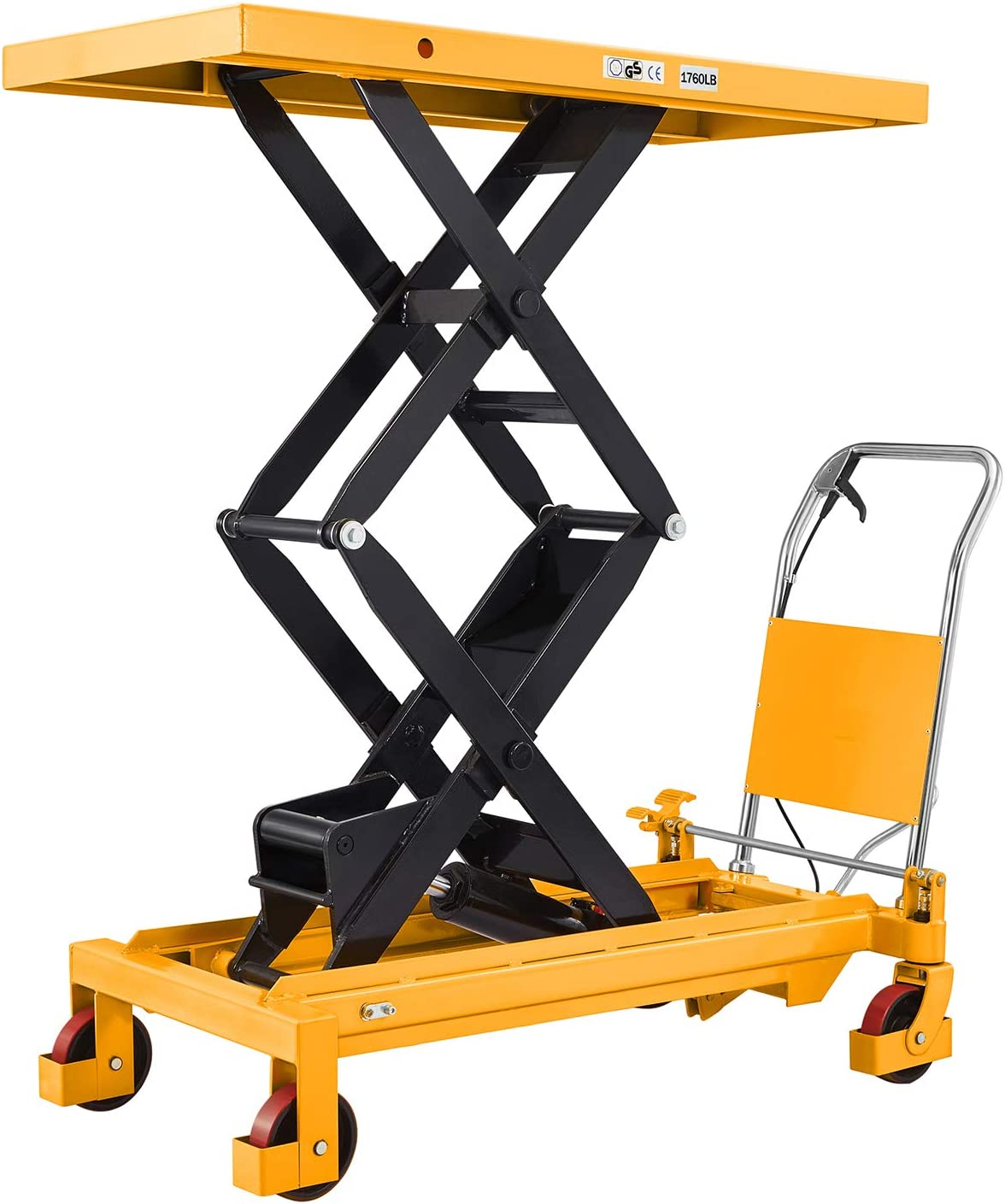 Platform Size 48.0 x 24.0 with Safety Guard 1760lbs 59.1 Lifting Height SOVANS Manual Double Scissor Hydraulic Lift Table Cart