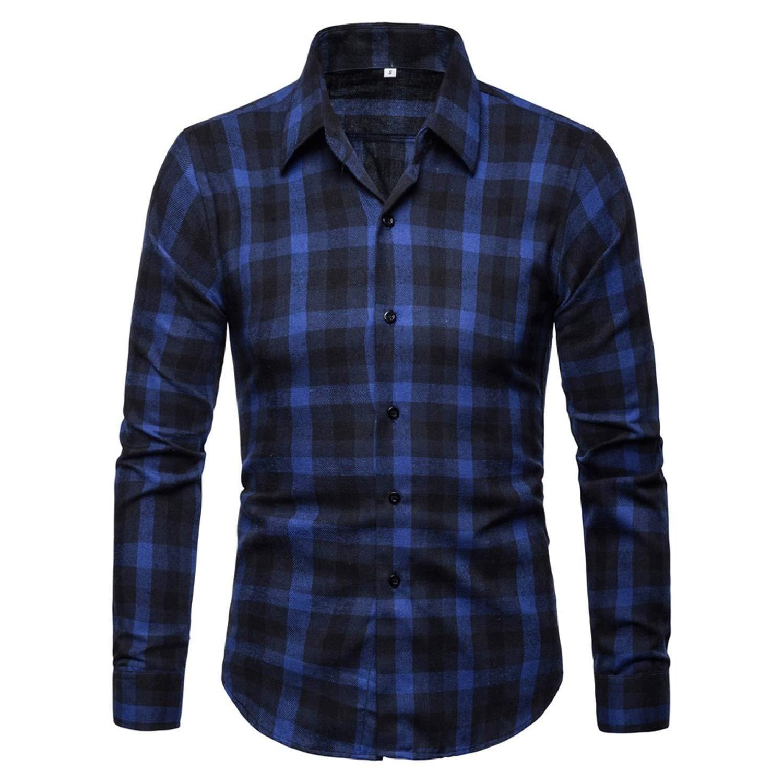 Summer Mens Plaid Shirt Slim Casual Tops Business Lapel Plus Size,Navy Blue,S