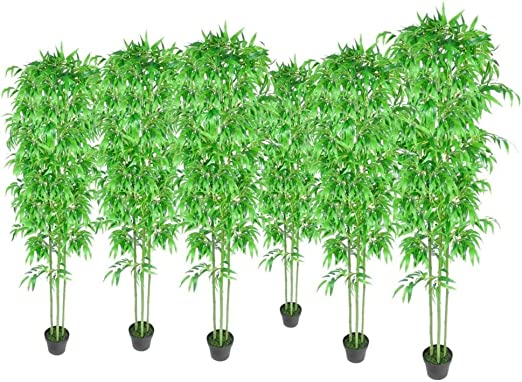 vidaXL Bambú Plantas Artificiales Hogar Decoración Set 6 Natural Verde Hermosa: Amazon.es: Jardín
