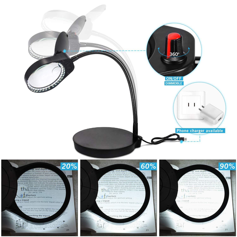 3X,10X Tischlupe Lupenleuchte mit LED-Tageslicht mit 38 LEDs Lupe,Schreibtischlampe f/ür handwerkliche Arbeiten Lesen,Arbeit,N/ähen ENJOHOS