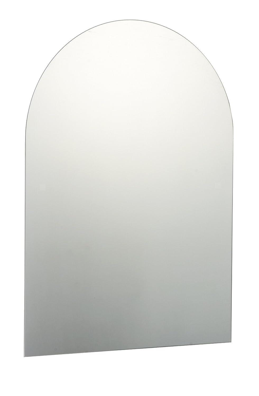 70 X 50cm Plain Frameless Arched Bathroom Mirror With Chrome