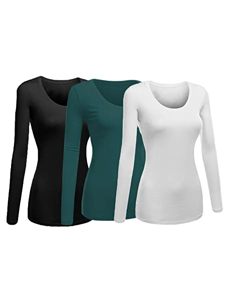 3fcbae38842c78 Image Unavailable. Image not available for. Color: Emmalise Women's Plain  Basic Scoop Neck Long Sleeve ...