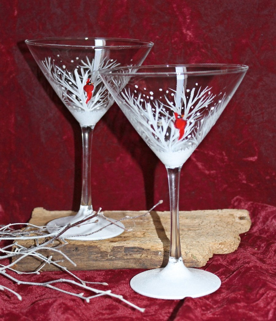 Hand Painted Martini Glasses - Winter Snow with Red Cardinal (Set of 2)