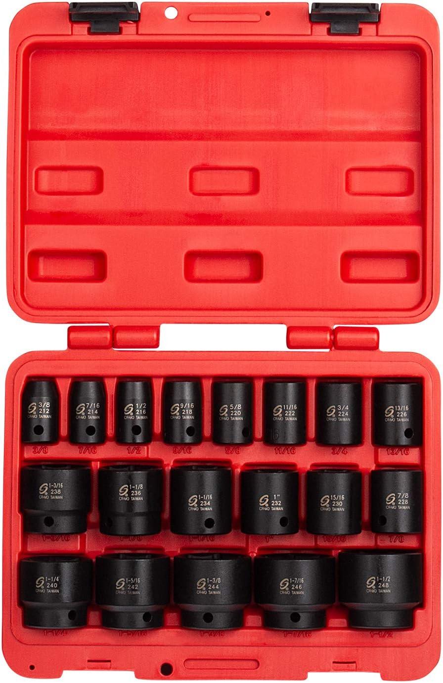Radius Corner Design Meets ANSI Standards 1//2 Inch Drive Impact Socket Set SAE 19-Piece 1-1//2 Inch Dual Size Markings Cr-Mo Alloy Steel Sunex 2640 Heavy Duty Storage Case 3//8 Inch