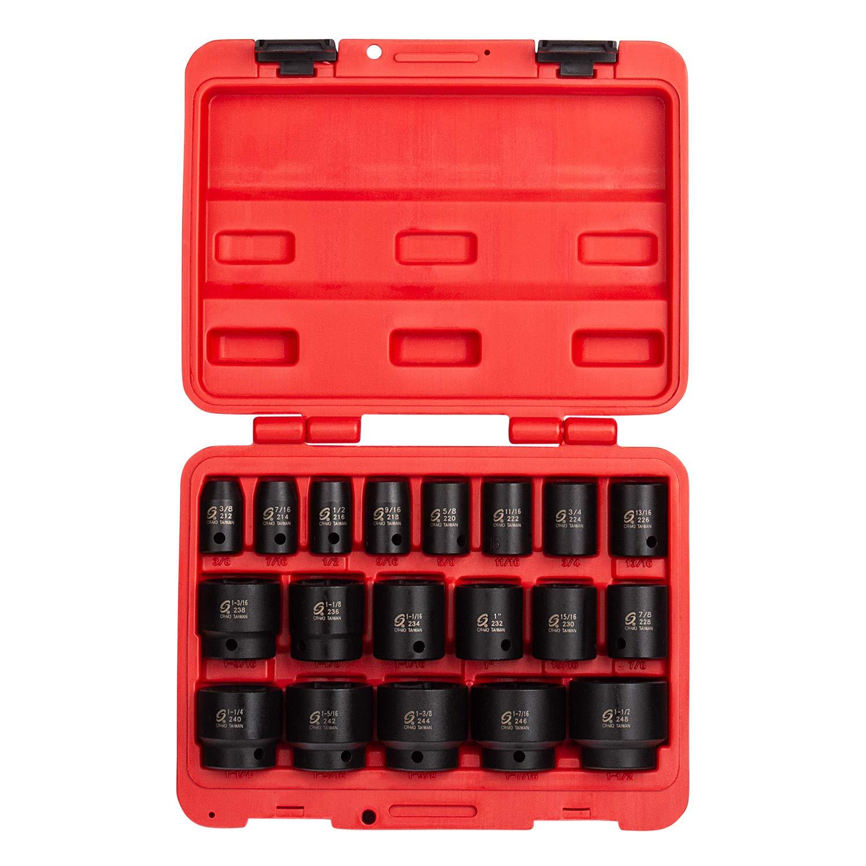 Sunex 2640, 1/2 Inch Drive Impact Socket Set, 19-Piece, SAE, 3/8 Inch - 1-1/2 Inch, Cr-Mo Alloy Steel, Radius Corner Design, Dual Size Markings, Heavy Duty Storage Case, Meets ANSI Standards by Sunex Tools