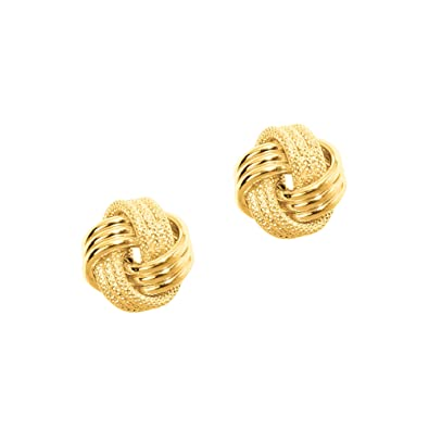 yellow love post icecarats stud earrings button knot ball gold