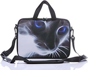 "11-Inch to 12-Inch Neoprene Laptop Sleeve Case Bag with shoulder strap For 11"", 11.6"", 12"" Ultrabook/Acer/Asus/Dell/HP/Toshiba/Lenovo/Chromebook (Grey cat with blue eyes)"