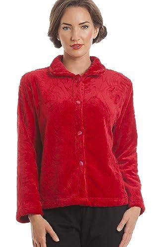 Lujosa bata corta abotonada tipo chaqueta - Forro polar supersuave - Rojo