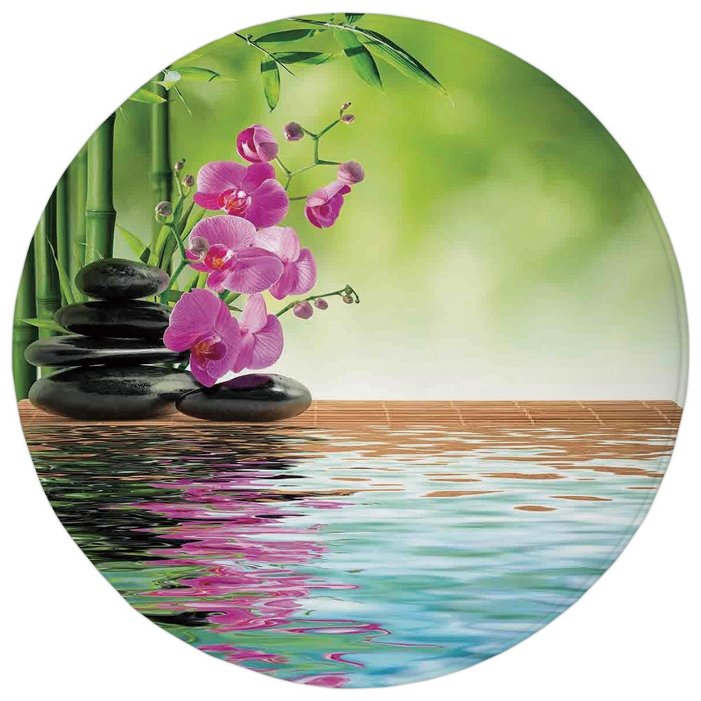 Round Rug Mat Carpet,Spa Decor,Orchid Flower Stone Oriental Culture Spirituality Wellness Tropical Holiday,,Flannel Microfiber Non-slip Soft Absorbent,for Kitchen Floor Bathroom