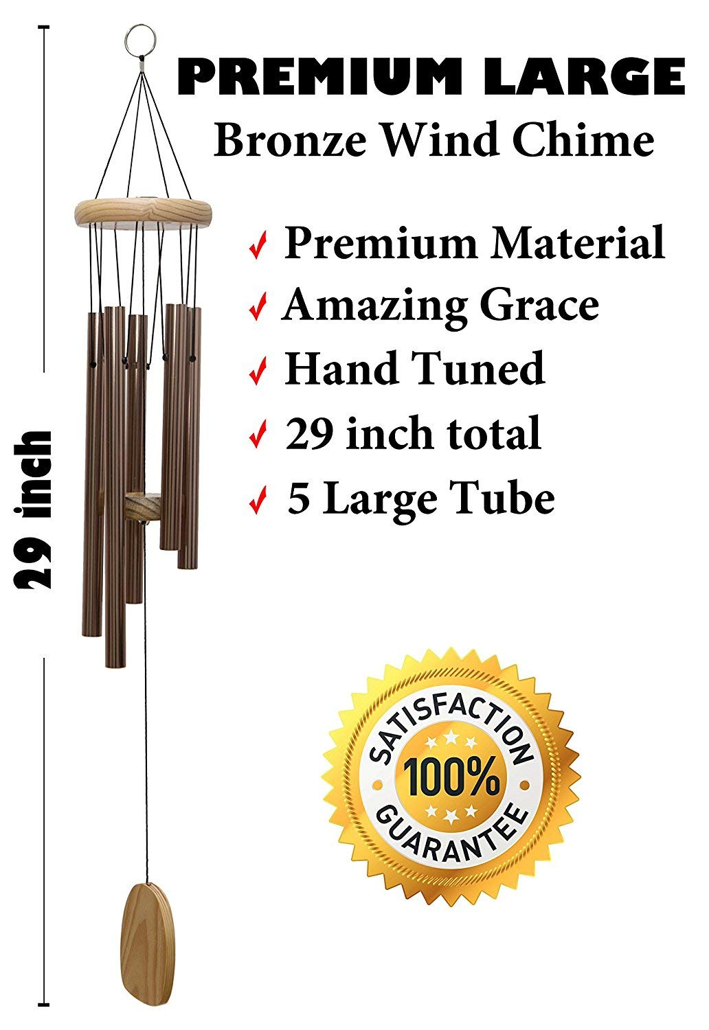 Wind Chimes Outdoor - Deep Tone - Hand Tuned - Loud Wind Chimes - Outdoor, Indoor, Garden or Patio - Aluminum Tubes (Color: Premium Bronze) - Also for Funeral or Memorial