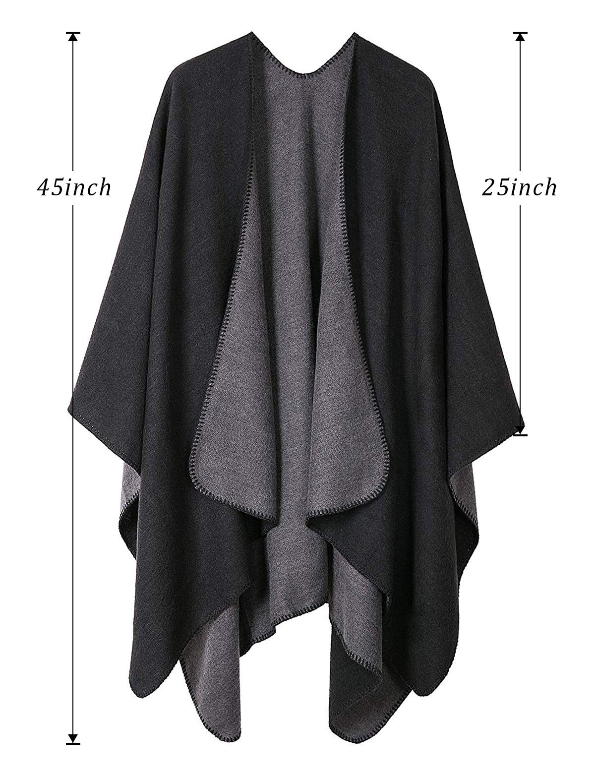 Women Plaid Shawls and Wraps,Winter Poncho Cape,Soft Cashmere Cloak,Oversized Long Cardigan Sweaters(Black) by KirGiabo (Image #5)