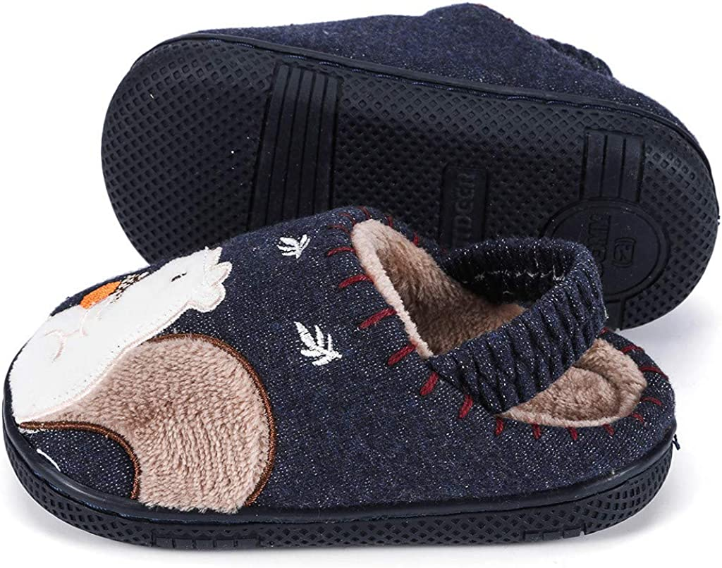 DFVVR Toddler Boys Girls Fluffy Little Kids Shoes Warm Cute Animal Home Slipper