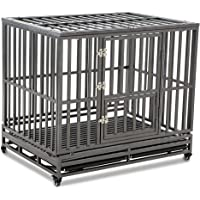 LUCKUP Heavy Duty Dog Cage Strong Metal Kennel and Crate for Large Dogs,Easy to…