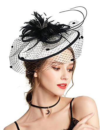 4d786403de6 Z X Fascinator with Headband Derby Party Feather Floral Mesh Pillbox Hat  Black