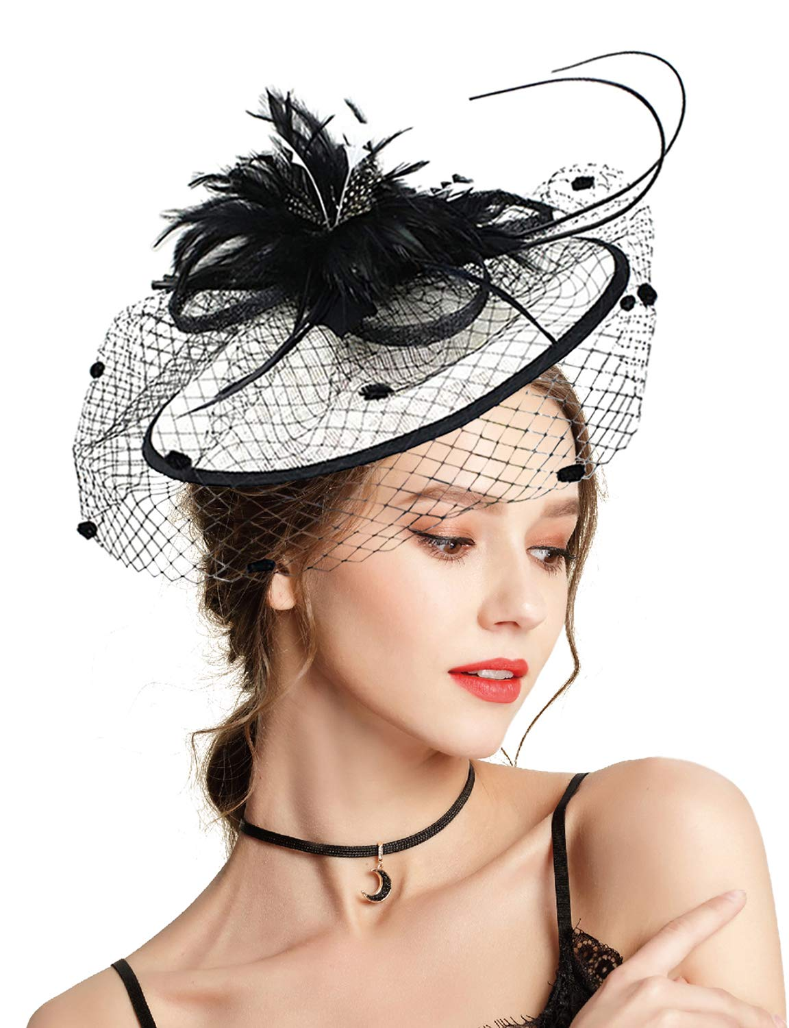 Z&X Fascinator with Headband Derby Party Feather Floral Mesh Pillbox Hat Black