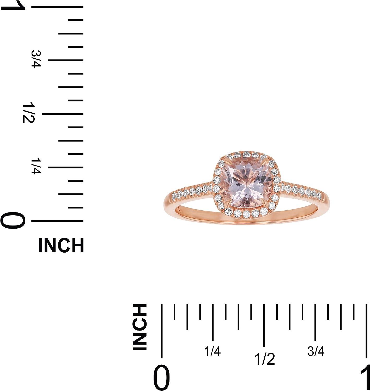 H-I, I1 Olivia Paris 14K Rose Gold 1 Carat TGW Cushion-Cut Morganite and Diamond Engagement Ring