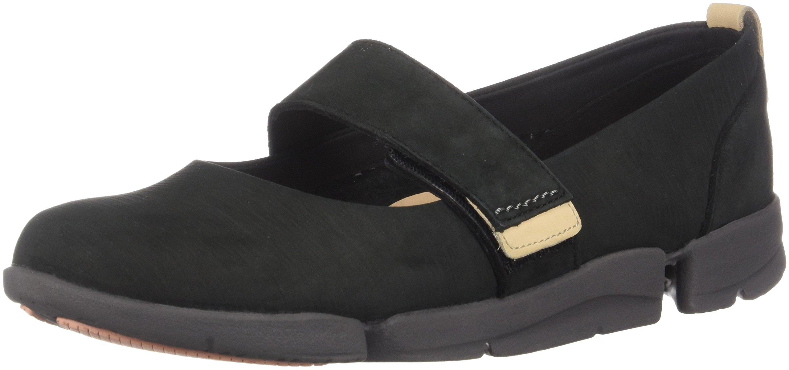 CLARKS Womens Tri Carrie Sneaker, Black Nubuck, Size 7